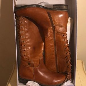 Leather laced riding boots